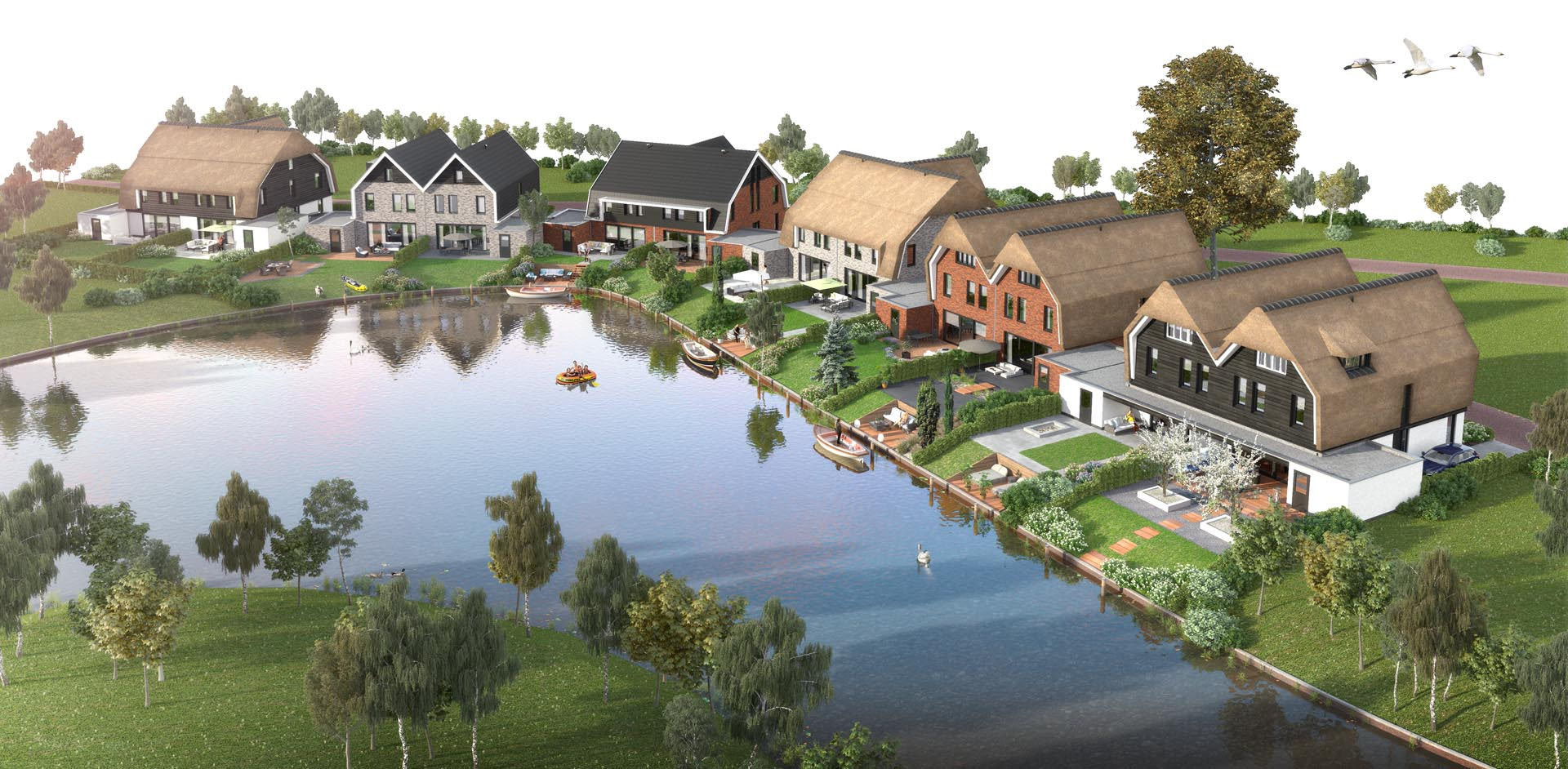 Prachtige woningen aan het water